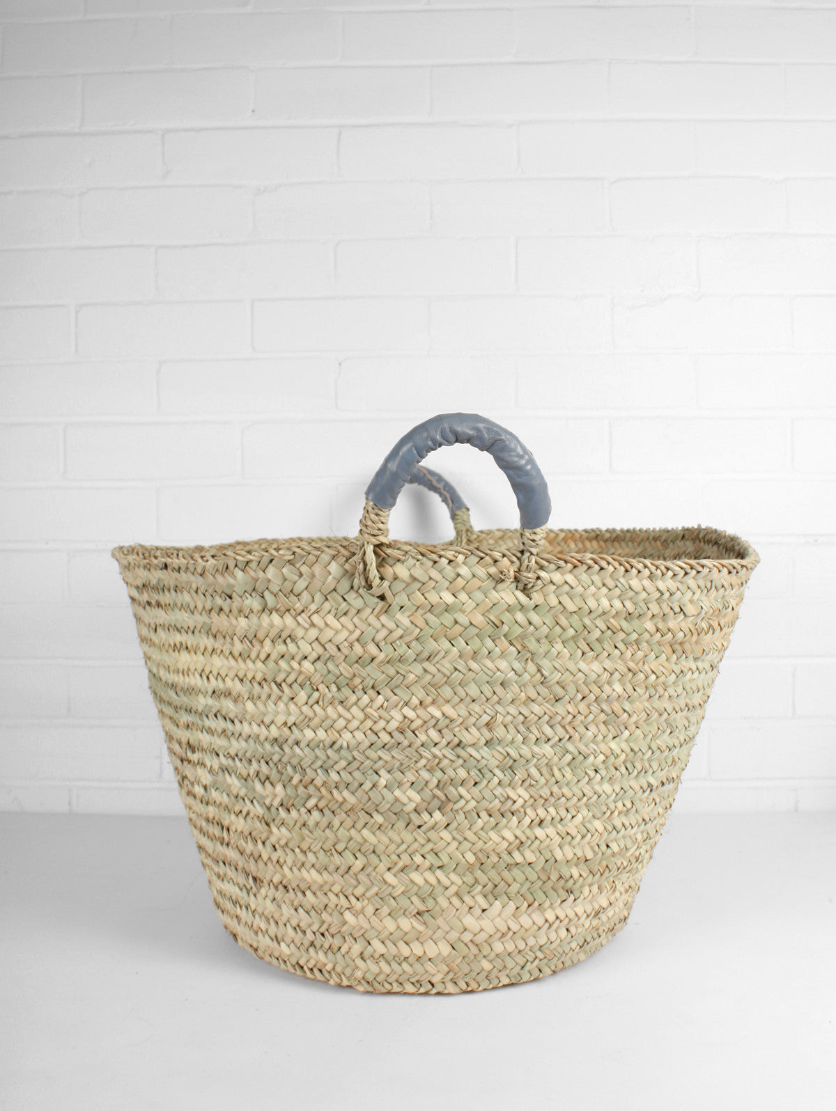 Beldi Leather Baskets, Grey