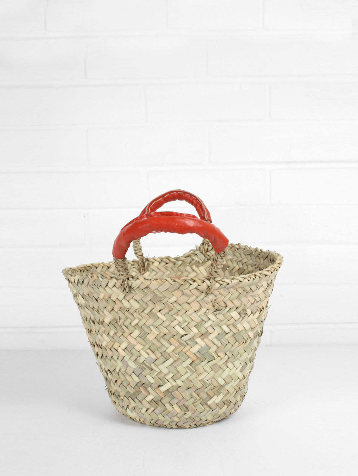 Beldi Leather Baskets, Orange