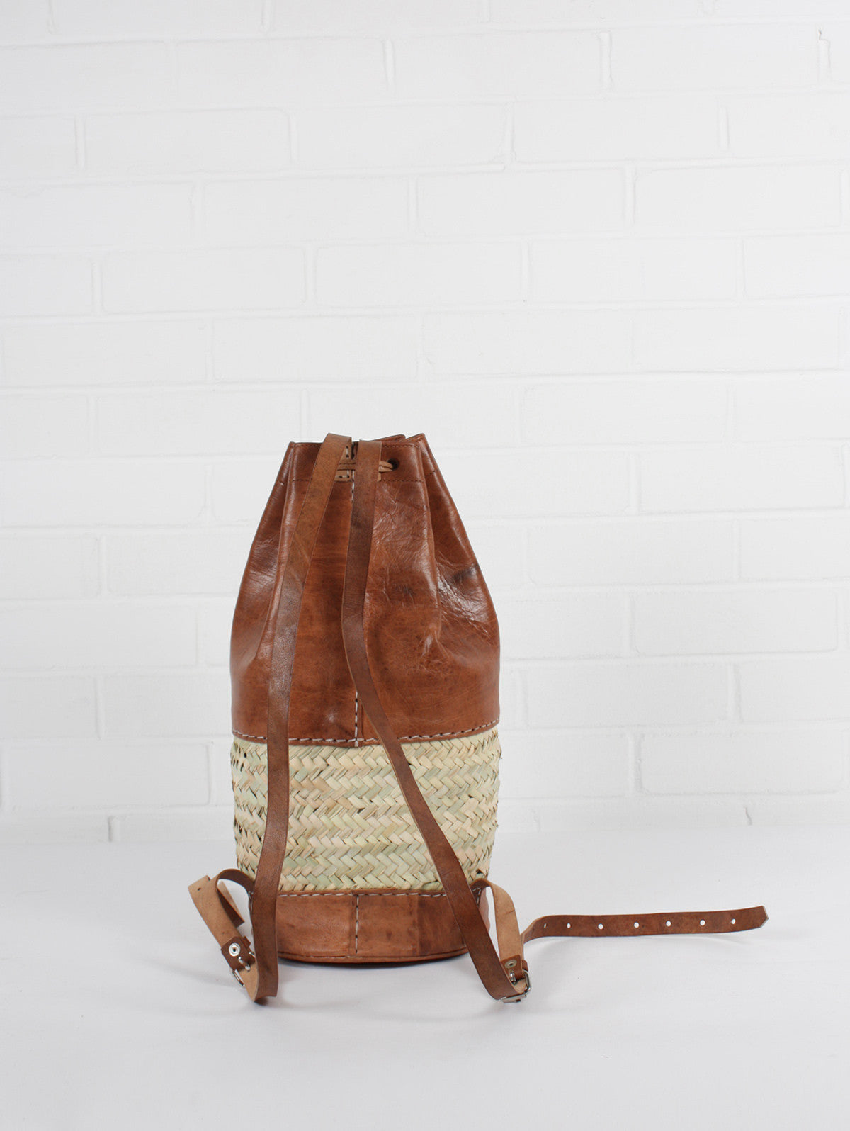 Leather and Basket Backpack