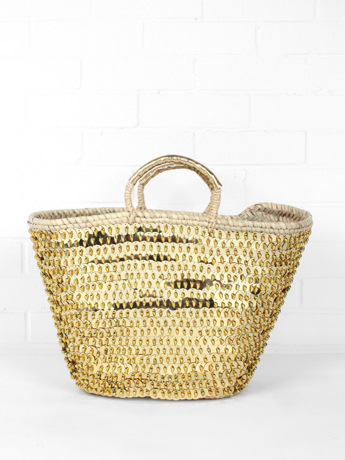 Sequin & Bead Basket, Gold