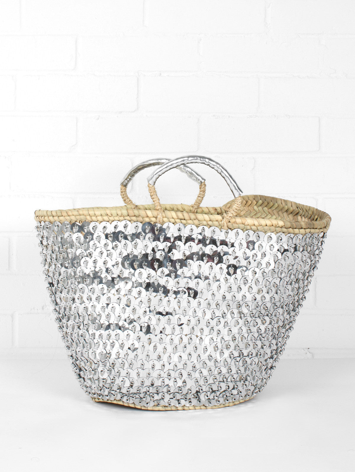 Sequin & Bead Basket, Silver