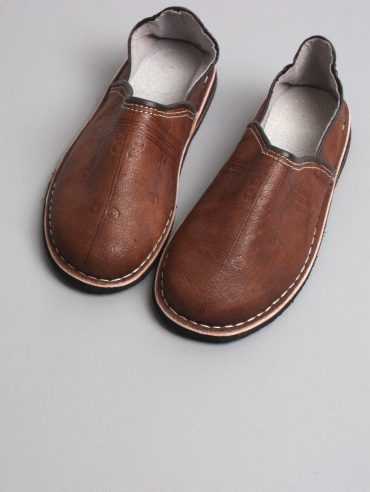 Moroccan Berber Babouche Slippers, Brown