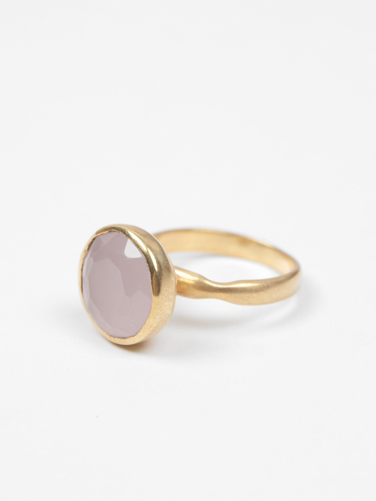 Big Dot Gold Ring, Rose Quartz