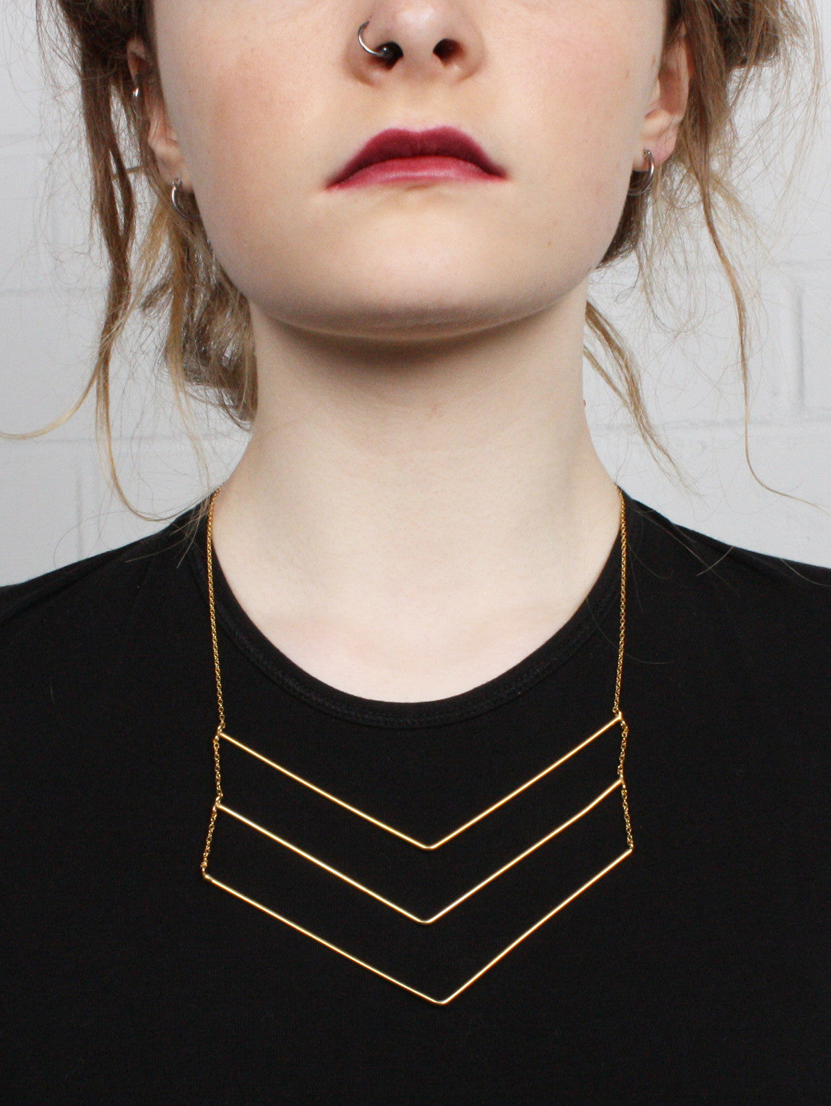 Gold Chevron Trio Necklace