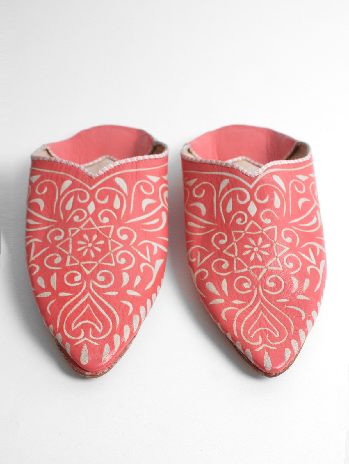 Moroccan Decorative Babouche Slippers, Coral