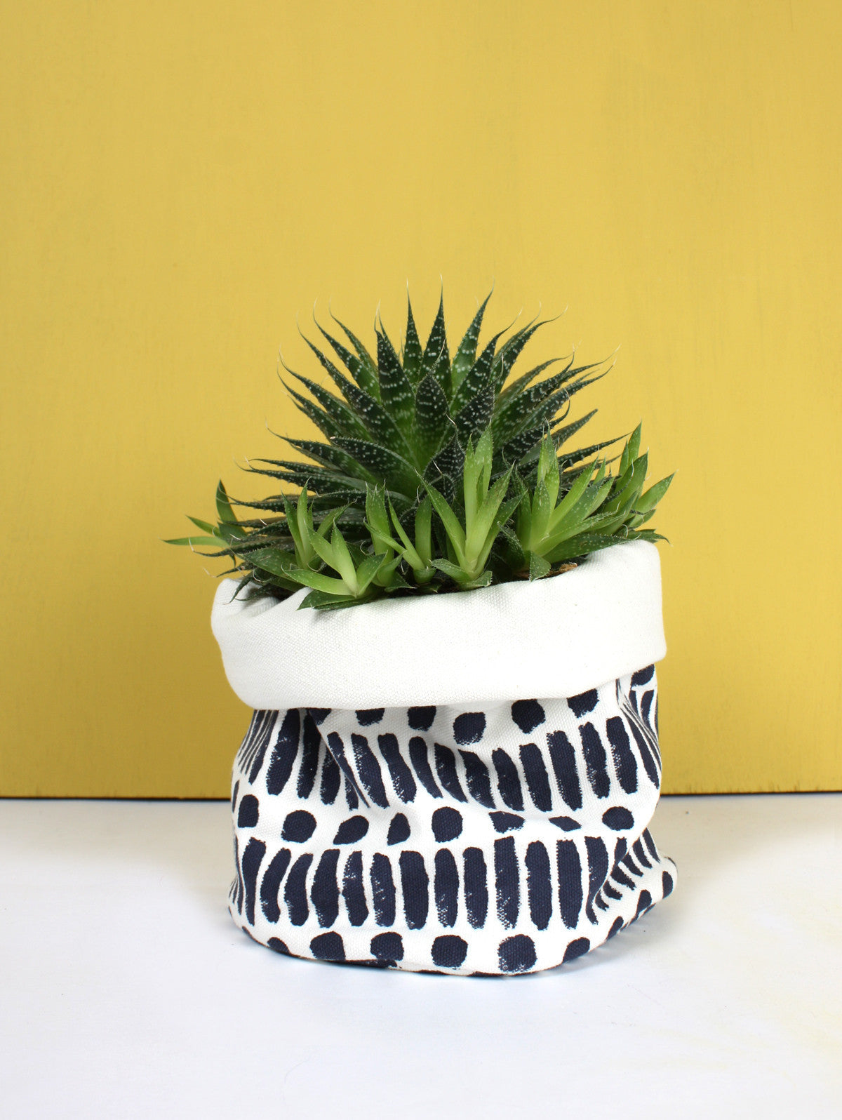 Dot Dash Print Canvas Storage Pots, Indigo