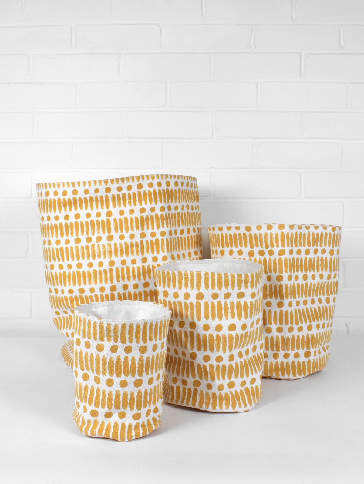 Dot Dash Print Canvas Storage Pots, Mustard