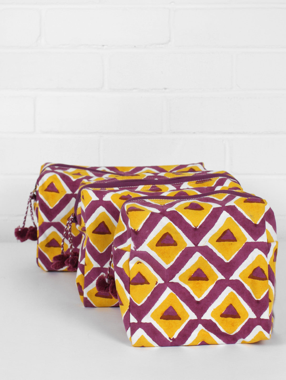 Geo WashBags, Purple & Mustard