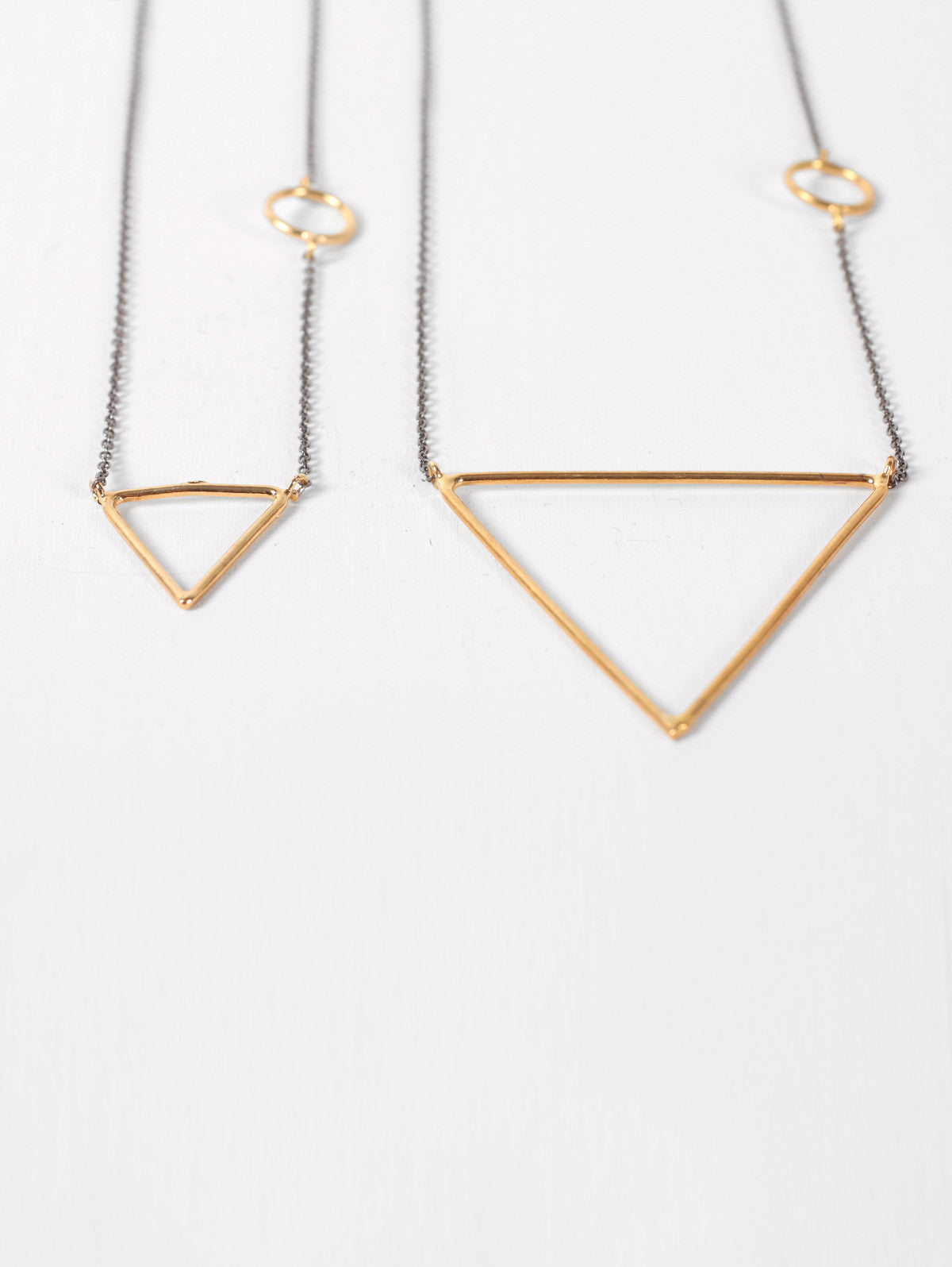 Gold Pyramid Necklace with Oxidised Chain
