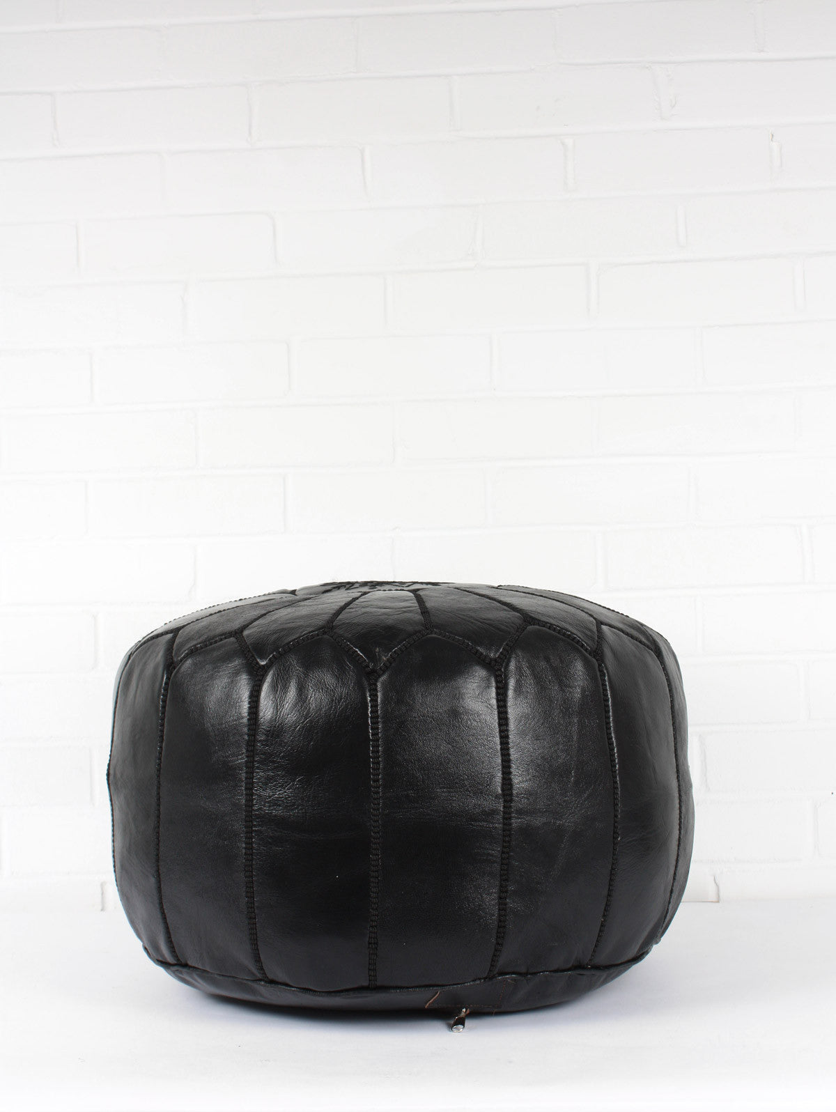 Moroccan Leather Pouffe, Black (Slight Seconds)