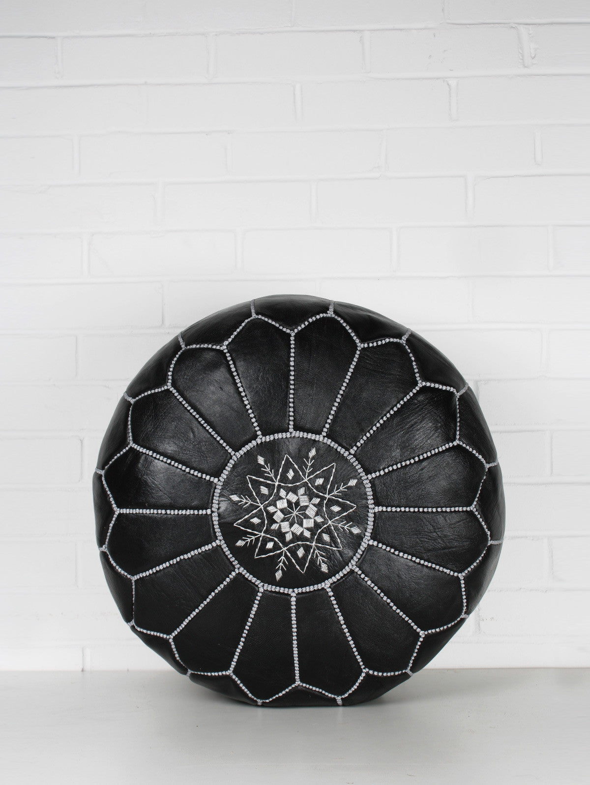Moroccan Leather Pouffe, Black and Silver