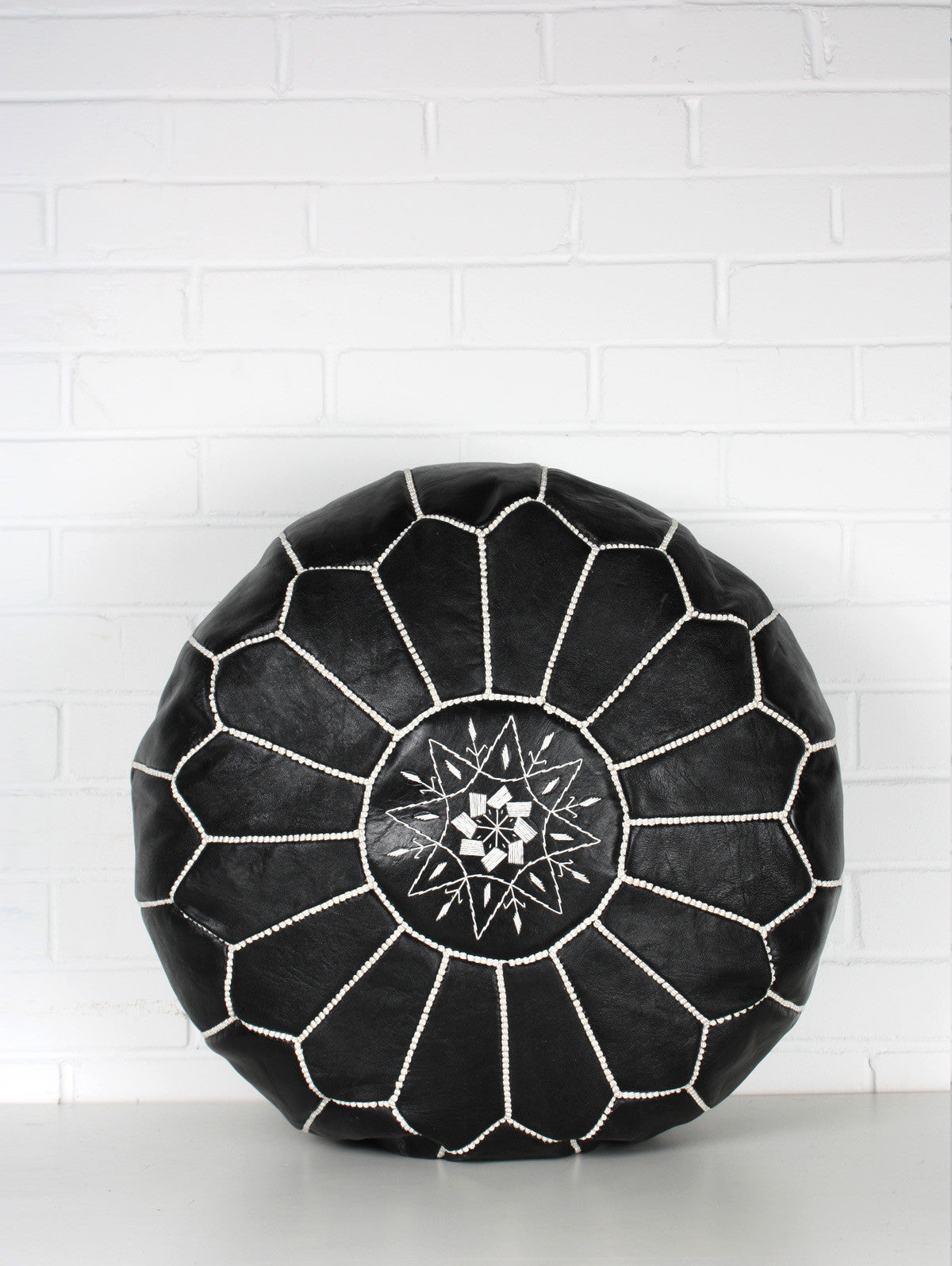 Moroccan Leather Pouffe, Black and White