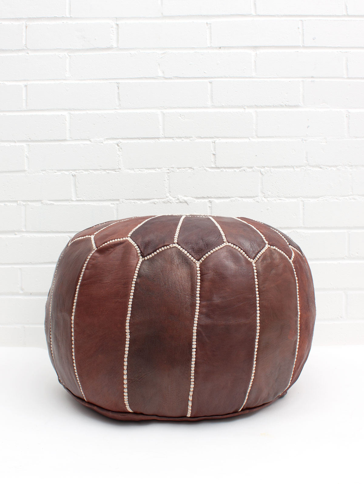 Moroccan Leather Pouffe, Chocolate Mocha Oiled