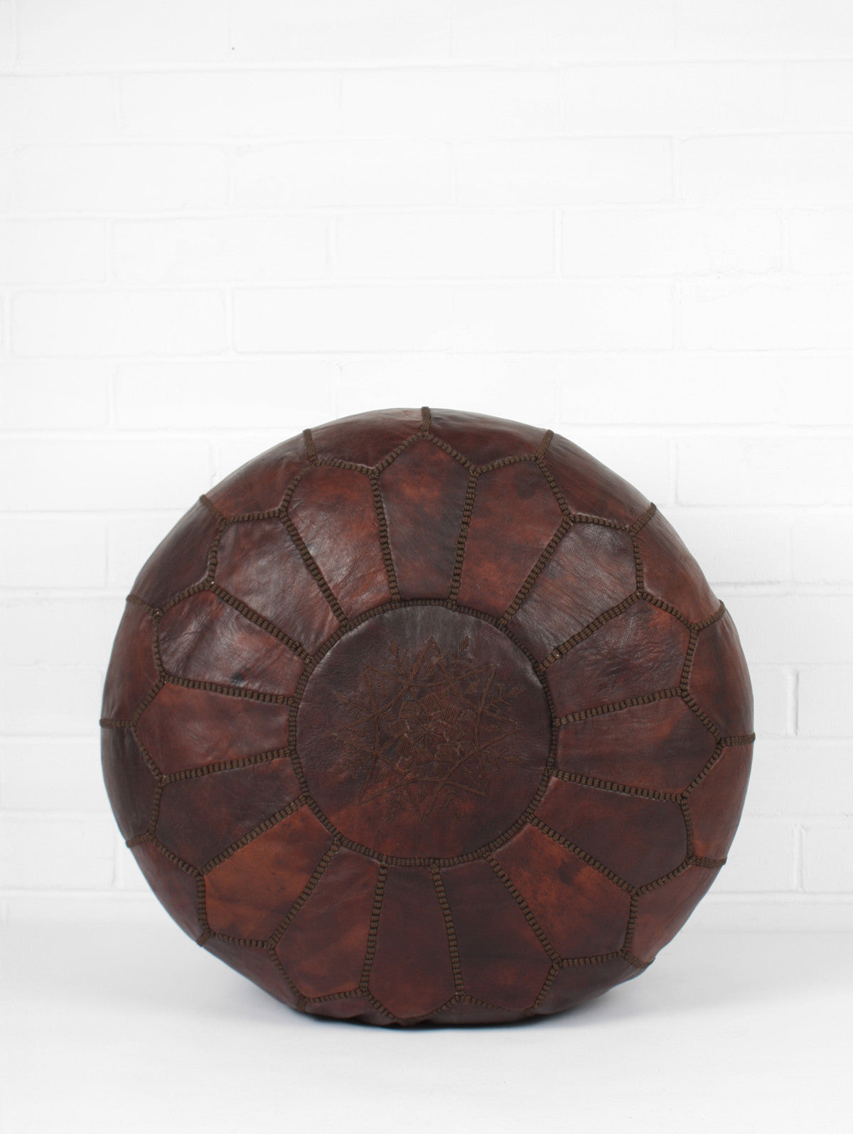 Square handcrafted moroccan leather pouf dark tan pouf pouffe ottoman - Moroccan Leather Pouffe Dark Chocolate Oiled