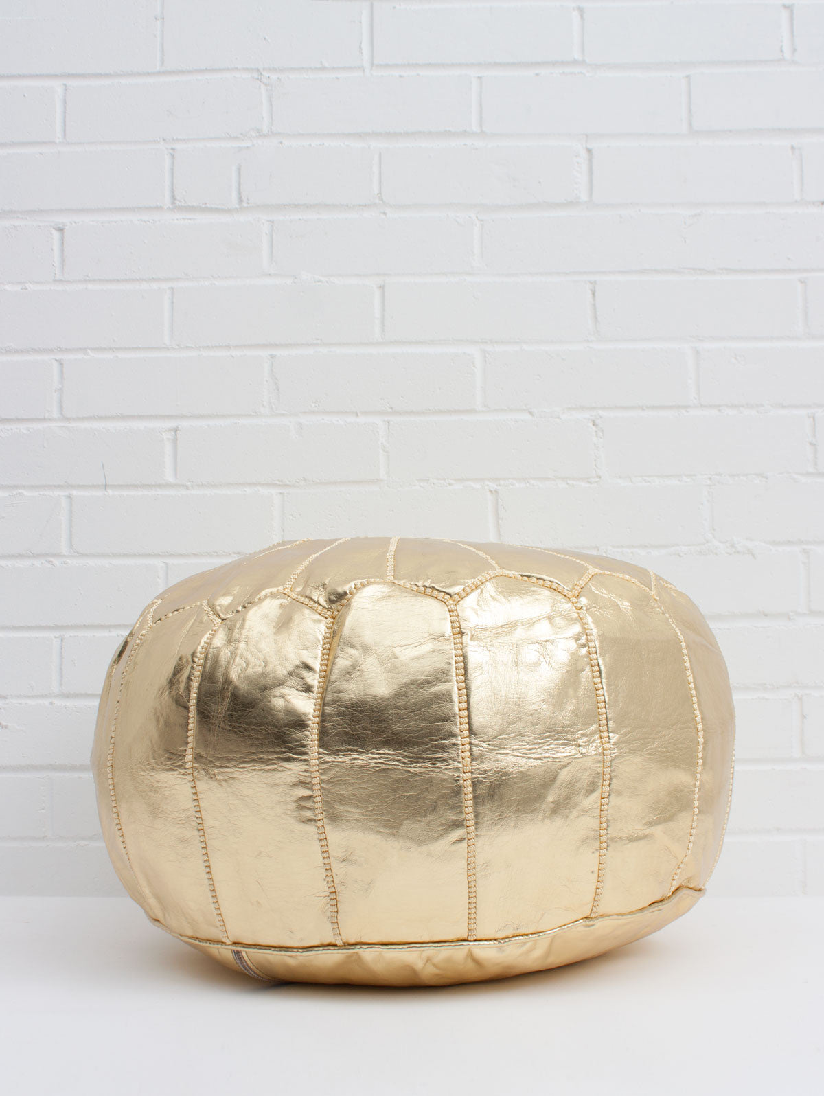 Moroccan Faux Leather Pouffe, Gold