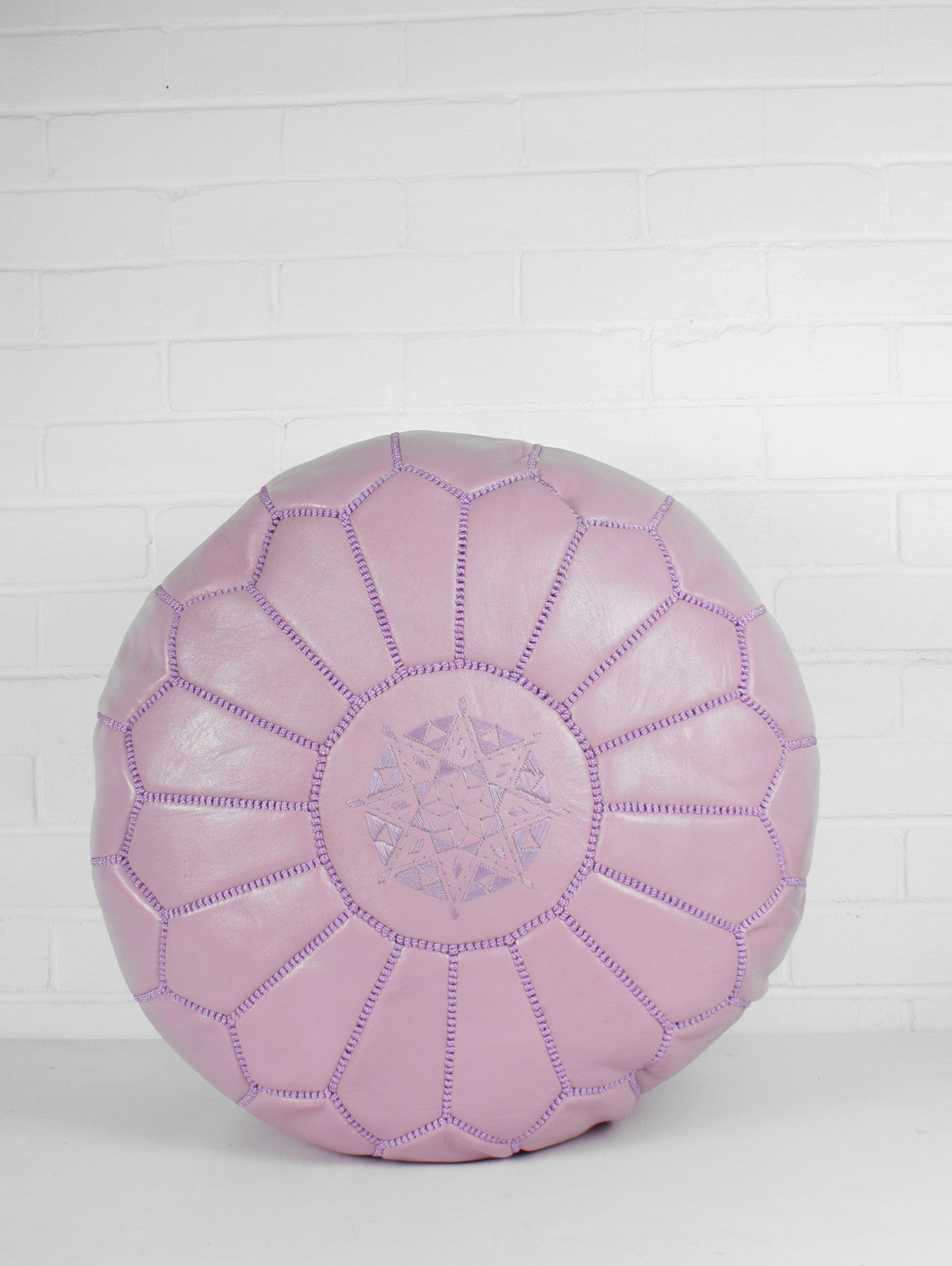 Moroccan Leather Pouffe, Lilac