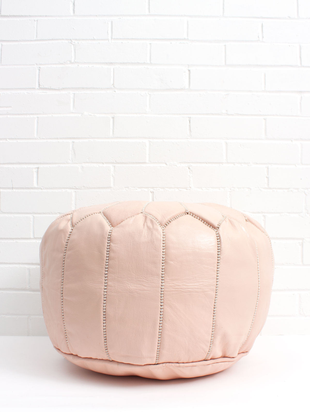 Moroccan Leather Pouffe, Nude