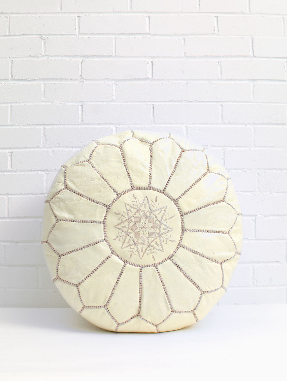 Moroccan Leather Pouffe, Pale Lemon