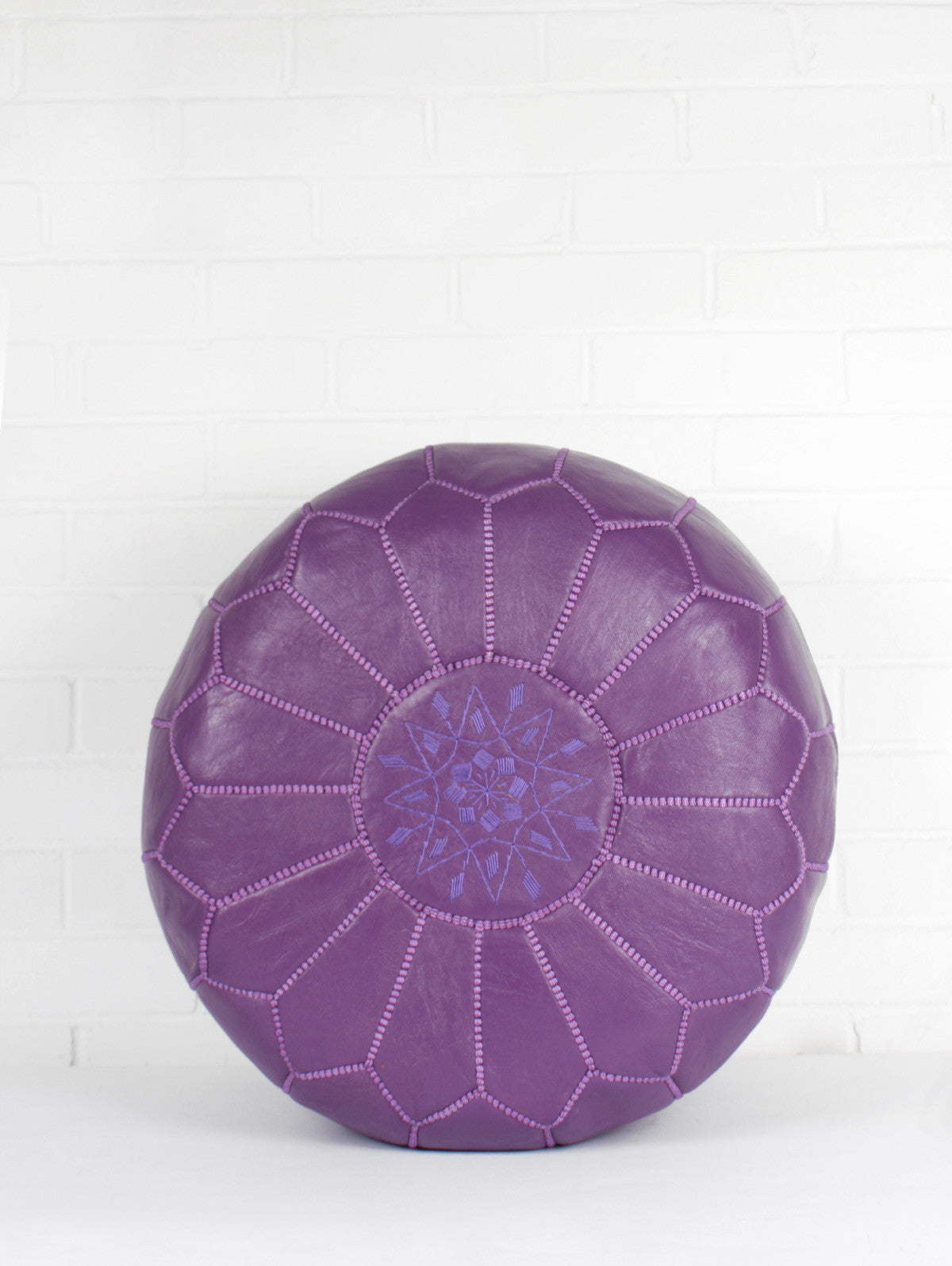 Moroccan Leather Pouffe, Purple