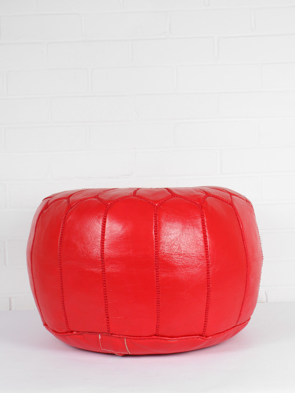Moroccan Leather Pouffe, Bright Red