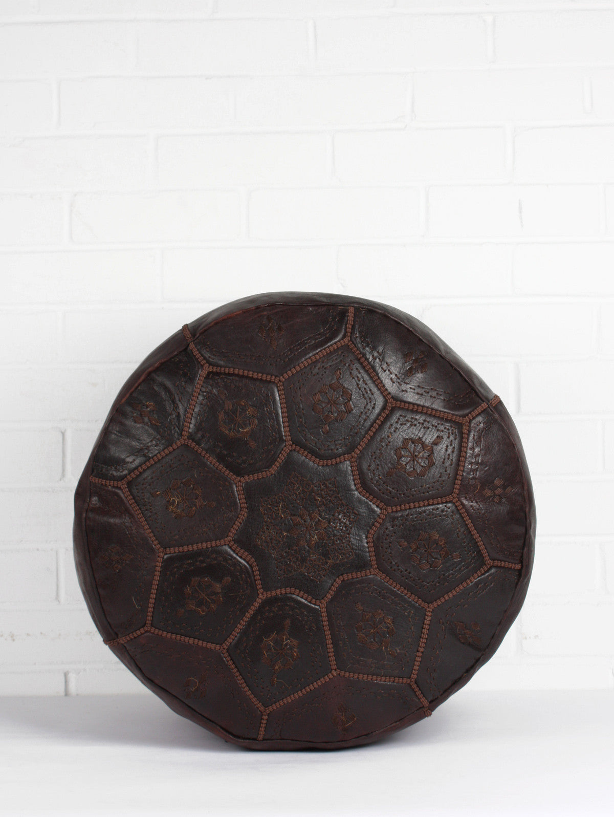 Moroccan Leather Tile Pouffe, Dark Chocolate
