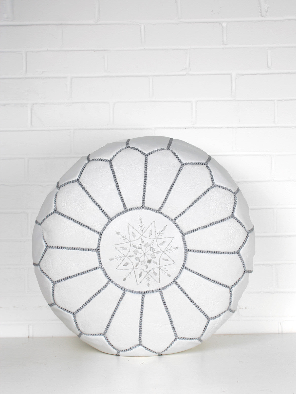 Moroccan Leather Pouffe, White and Grey