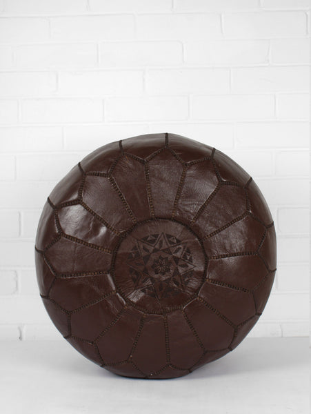 Moroccan Chocolate Brown Leather Pouf Bohemia Design Gorgeous How To Stuff A Moroccan Pouf