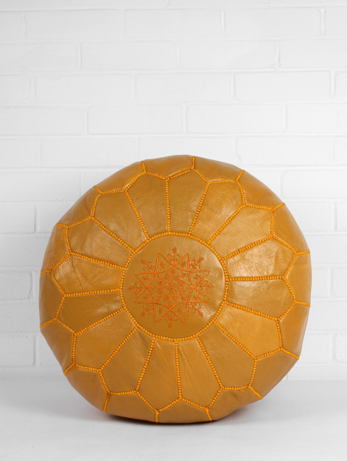 Moroccan Leather Pouffe, Mustard (Slight Seconds)