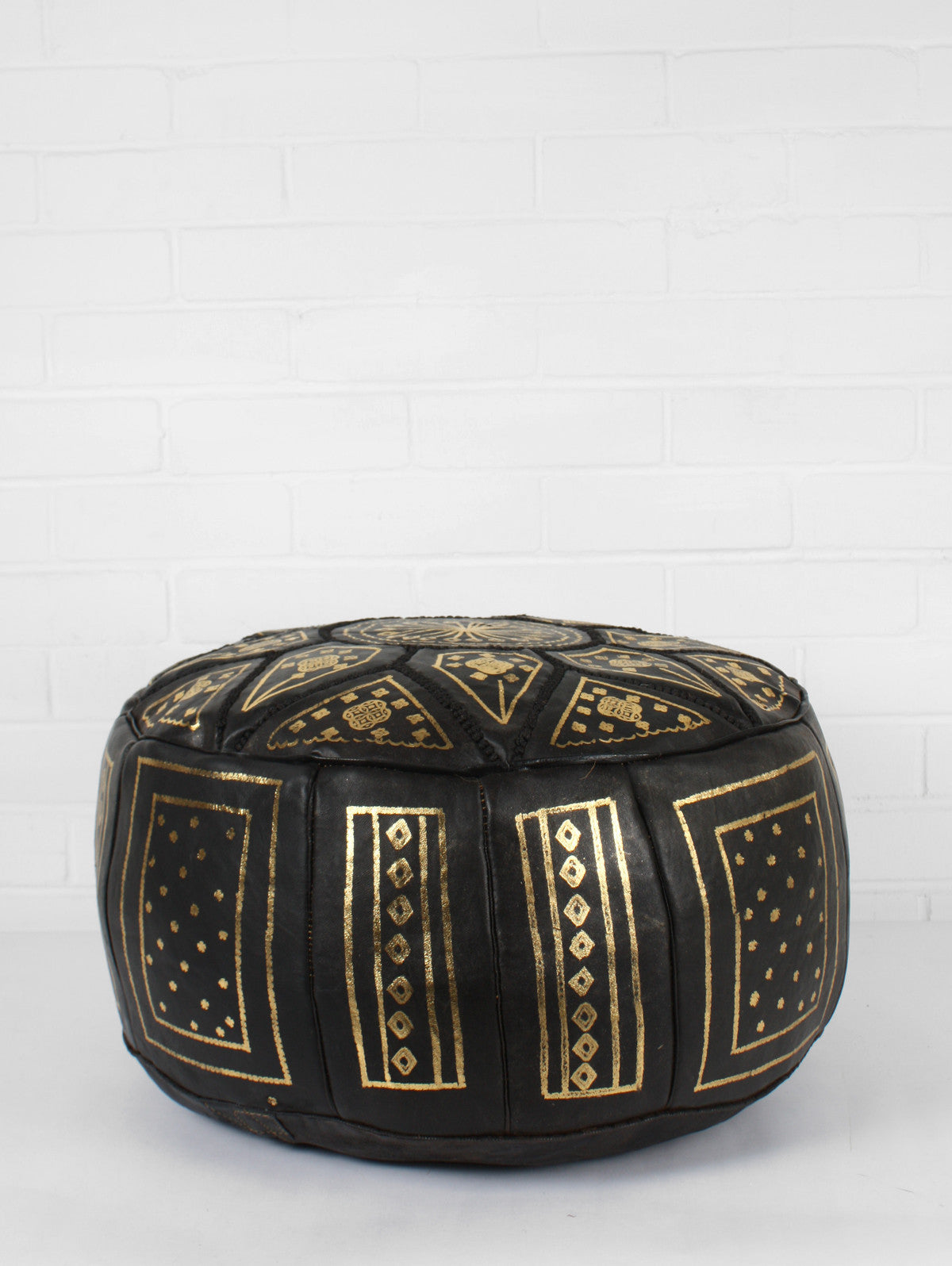 Moroccan Leather Fez Pouffe, Black
