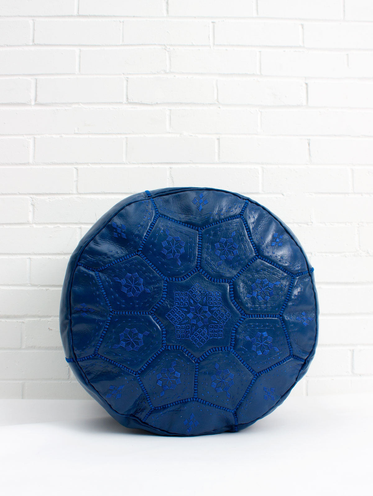 Moroccan Leather Tile Pouffe, Cobalt