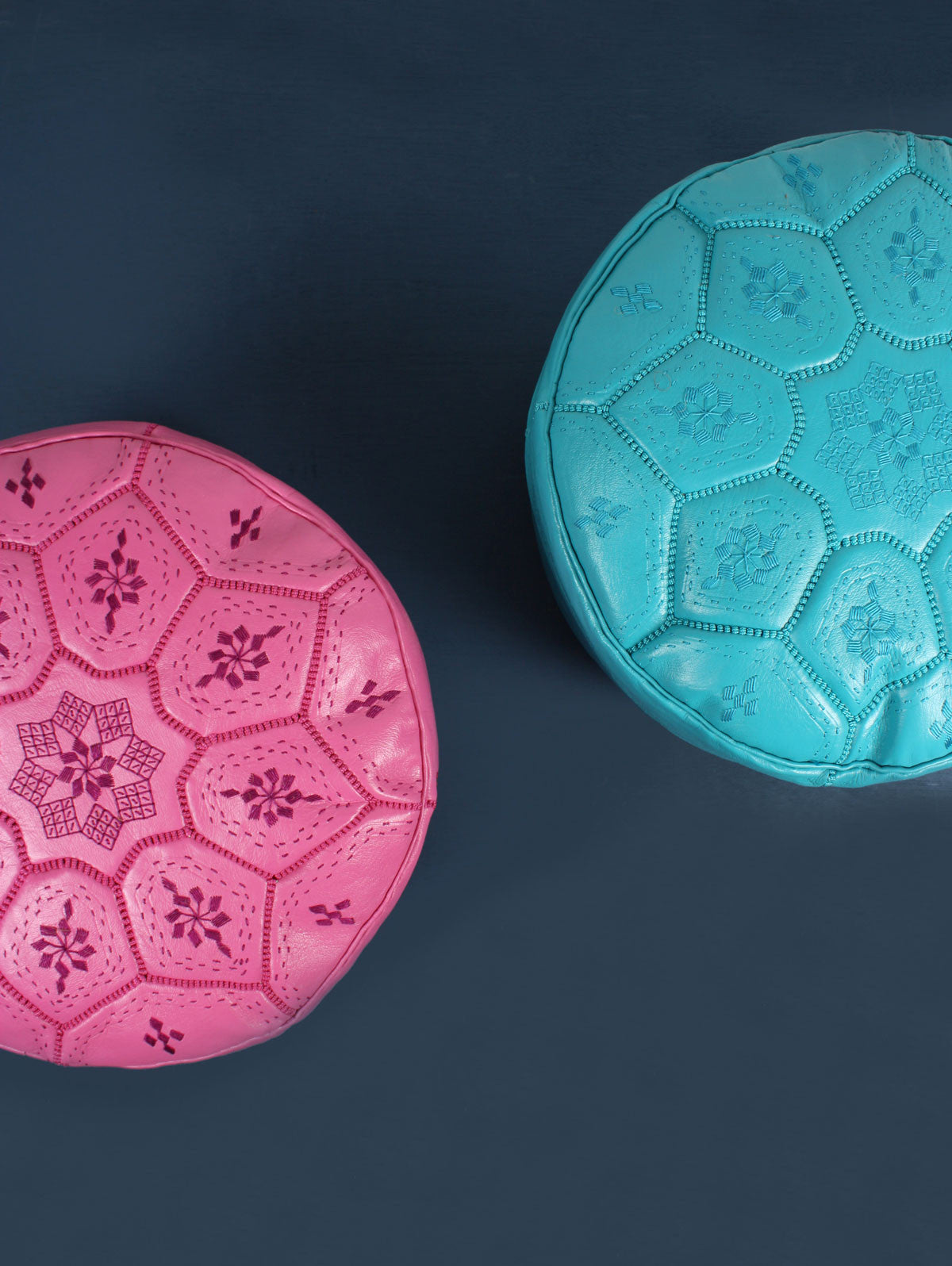 Moroccan Leather Tile Pouffe, Teal