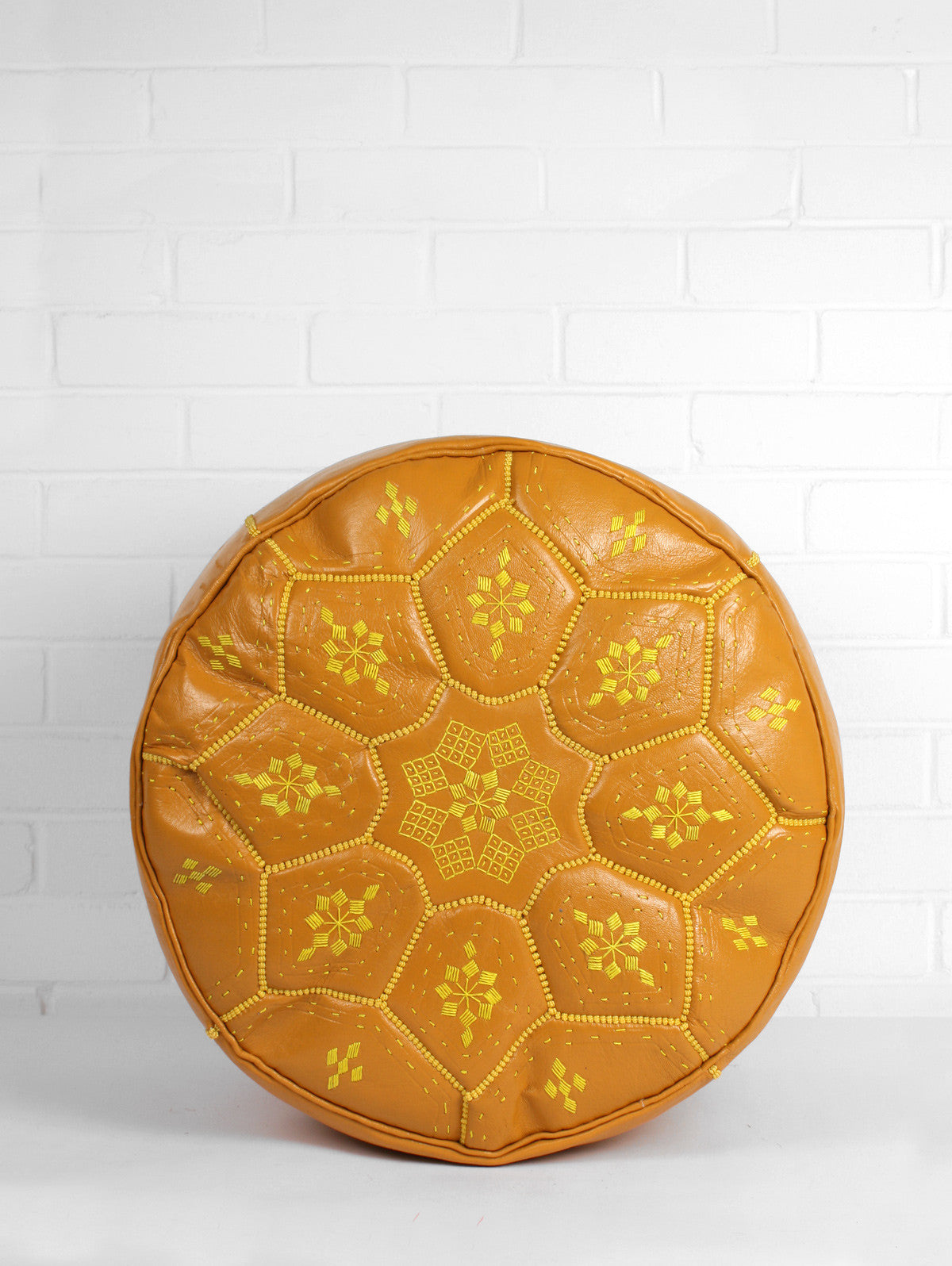 Moroccan Leather Tile Pouffe, Mustard