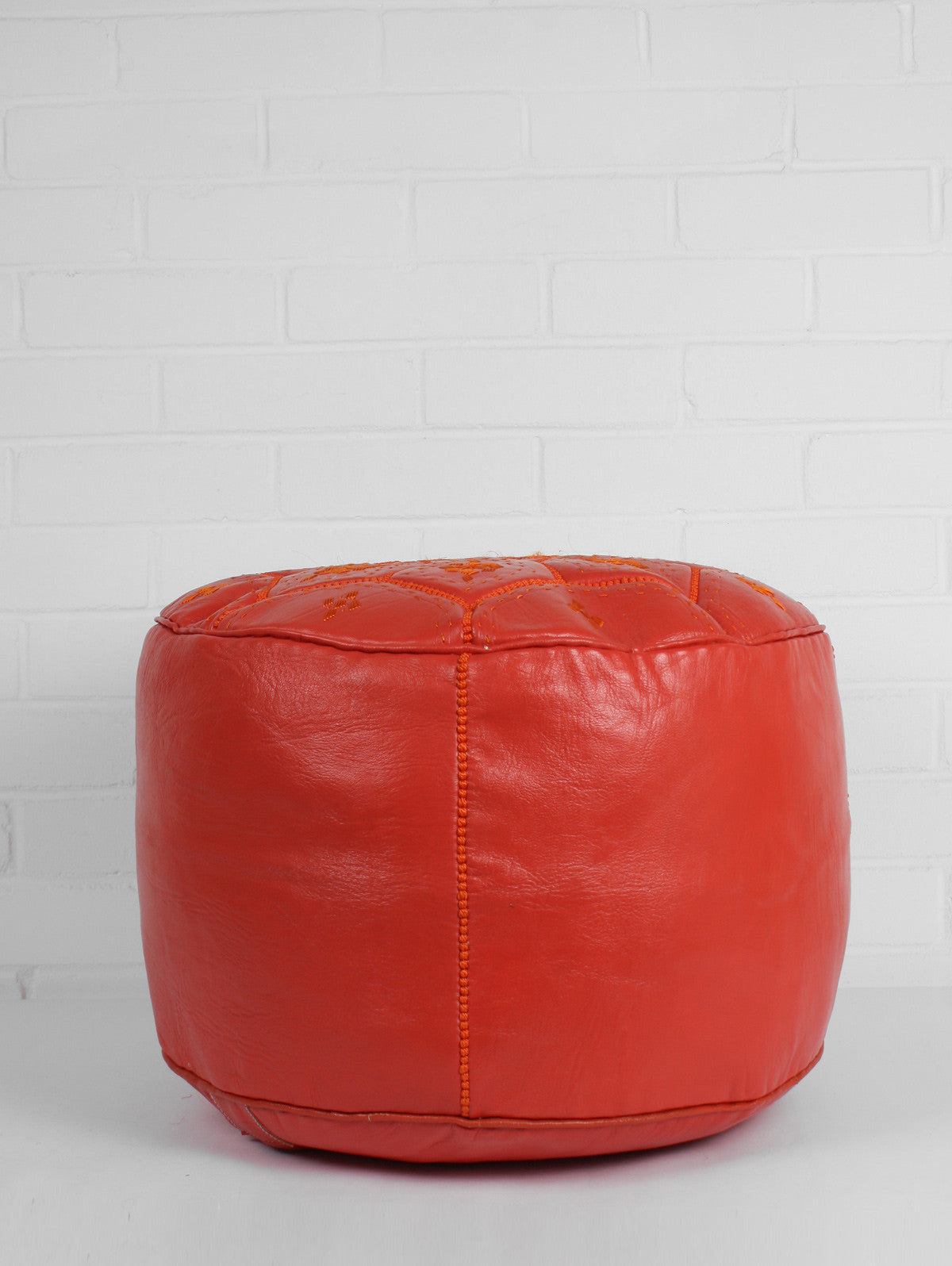Moroccan Leather Tile Pouffe, Orange