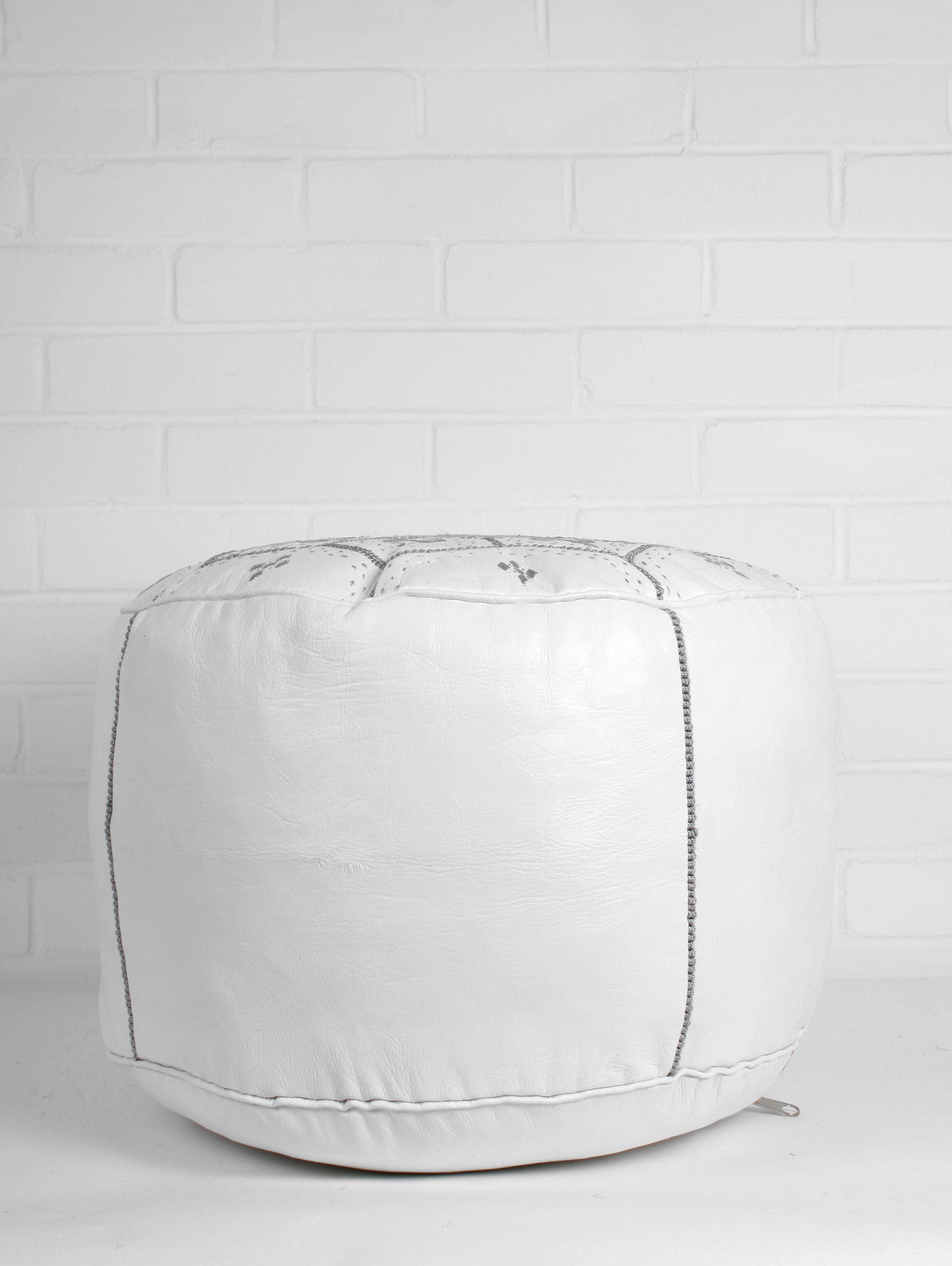 Moroccan Leather Tile Pouffe, White & Grey
