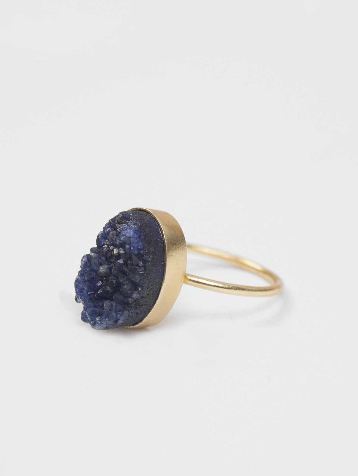 Oval Druzy Ring, Indigo
