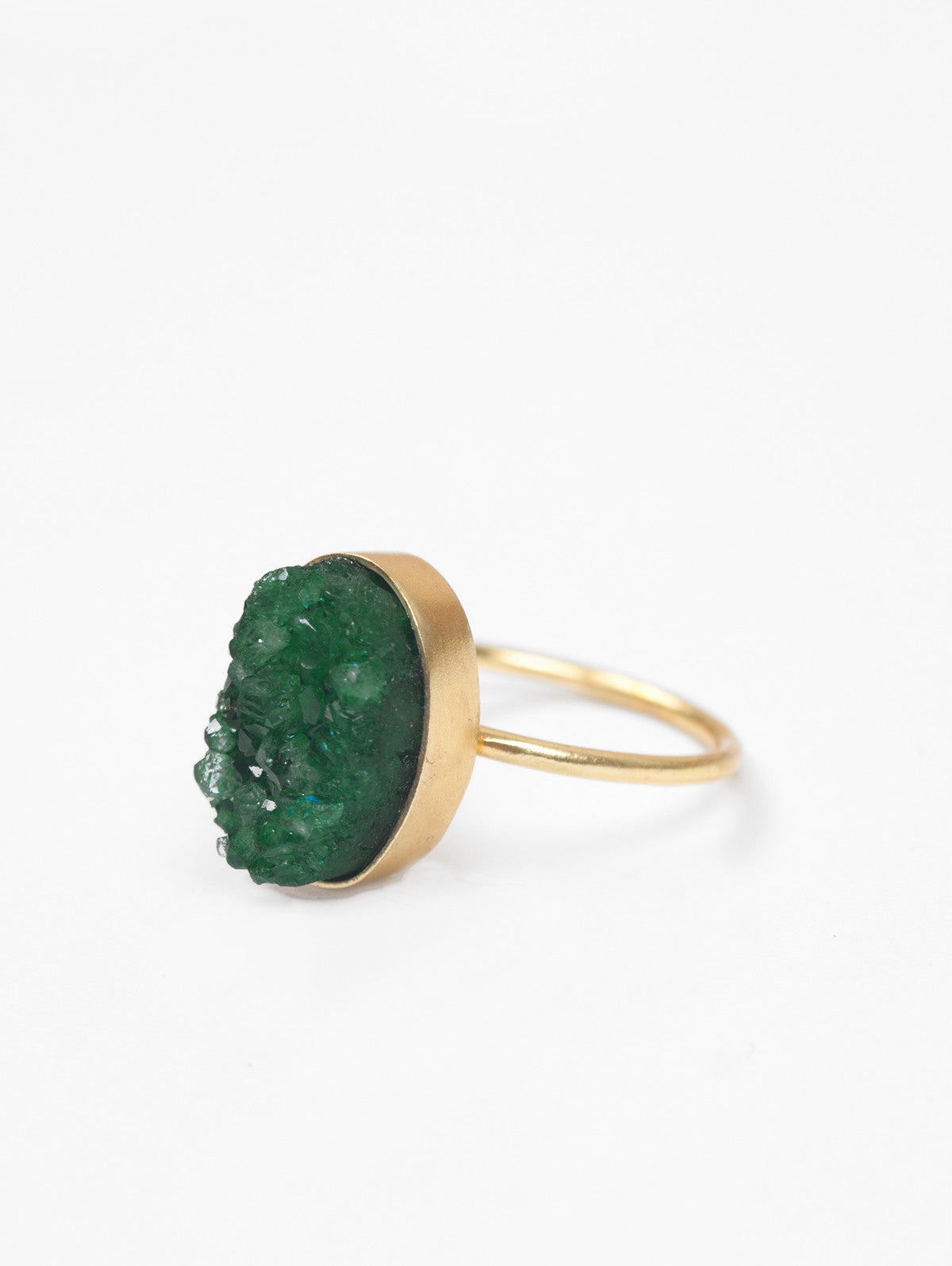 Oval Druzy Ring, Jade Green