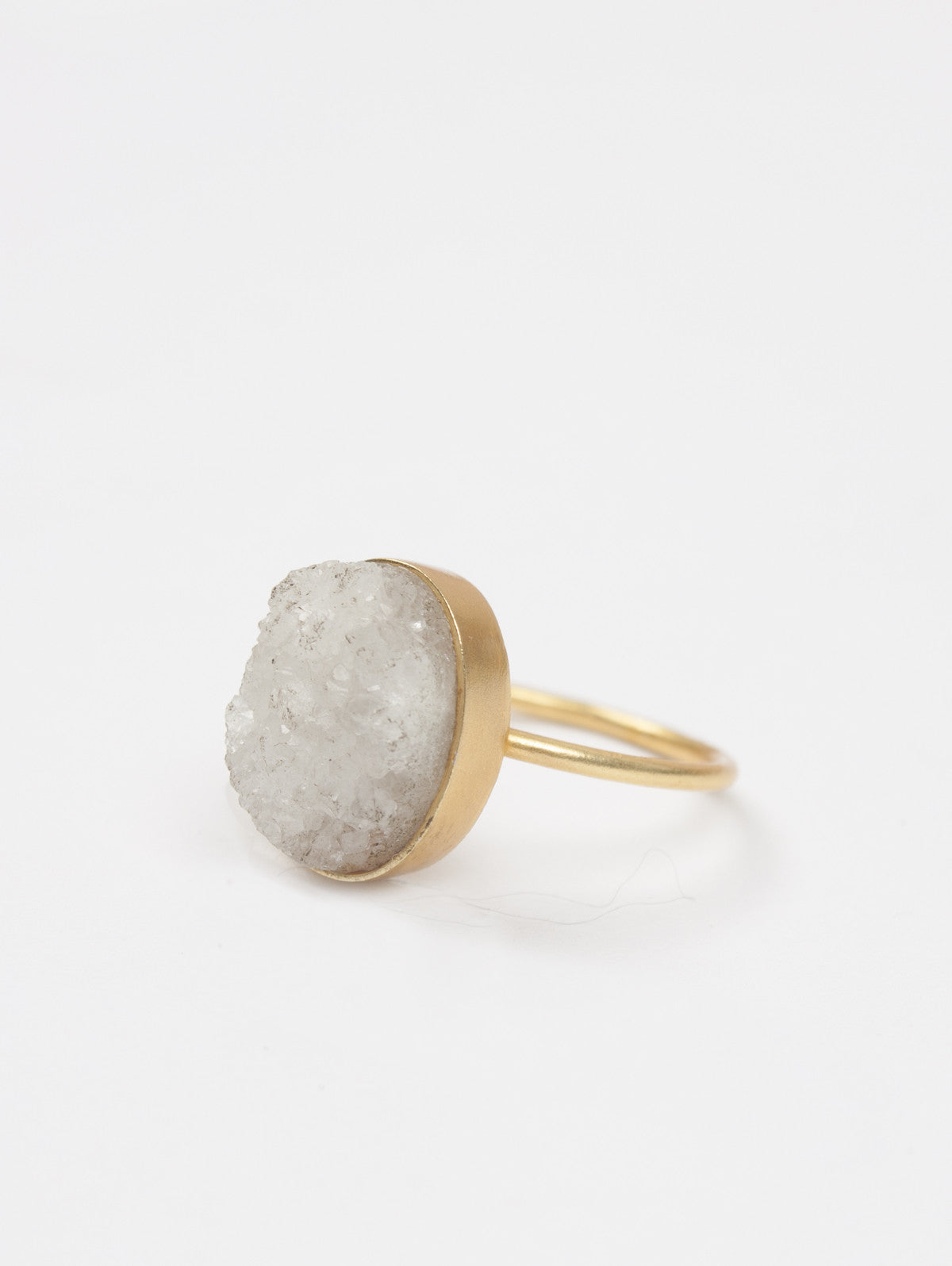 Oval Druzy Ring, Natural