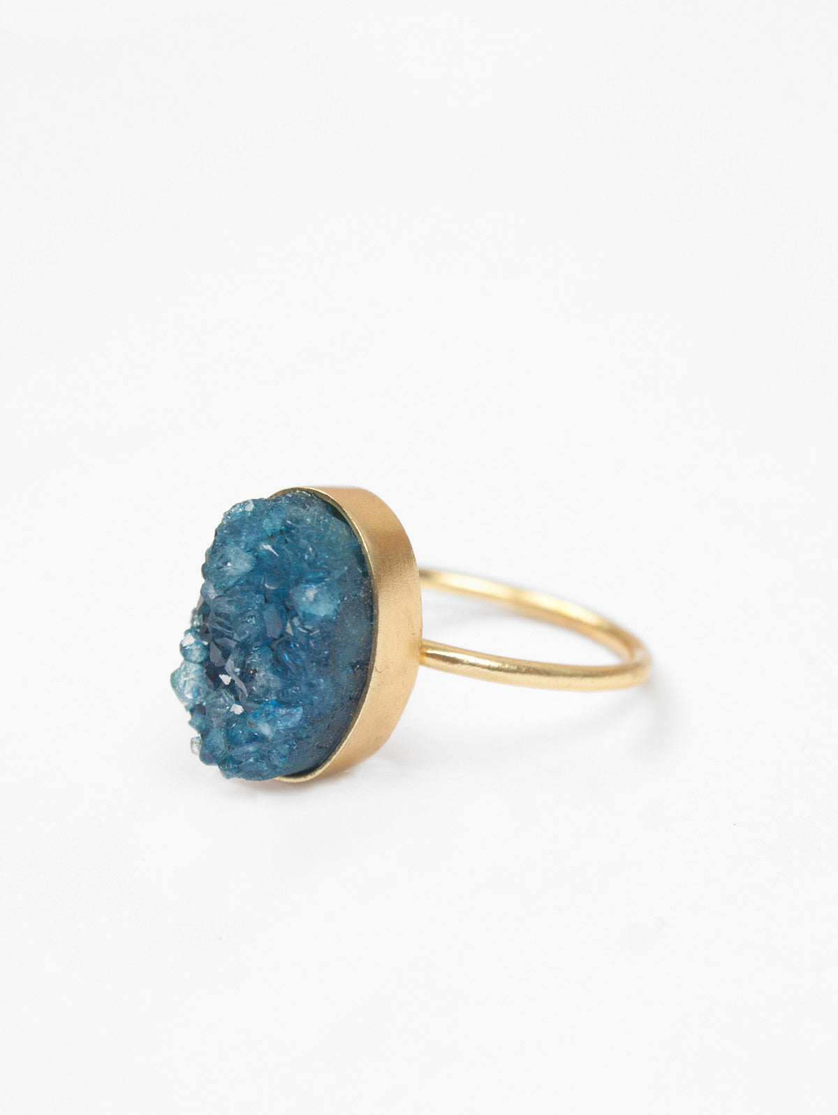 Oval Druzy Ring, Turquoise
