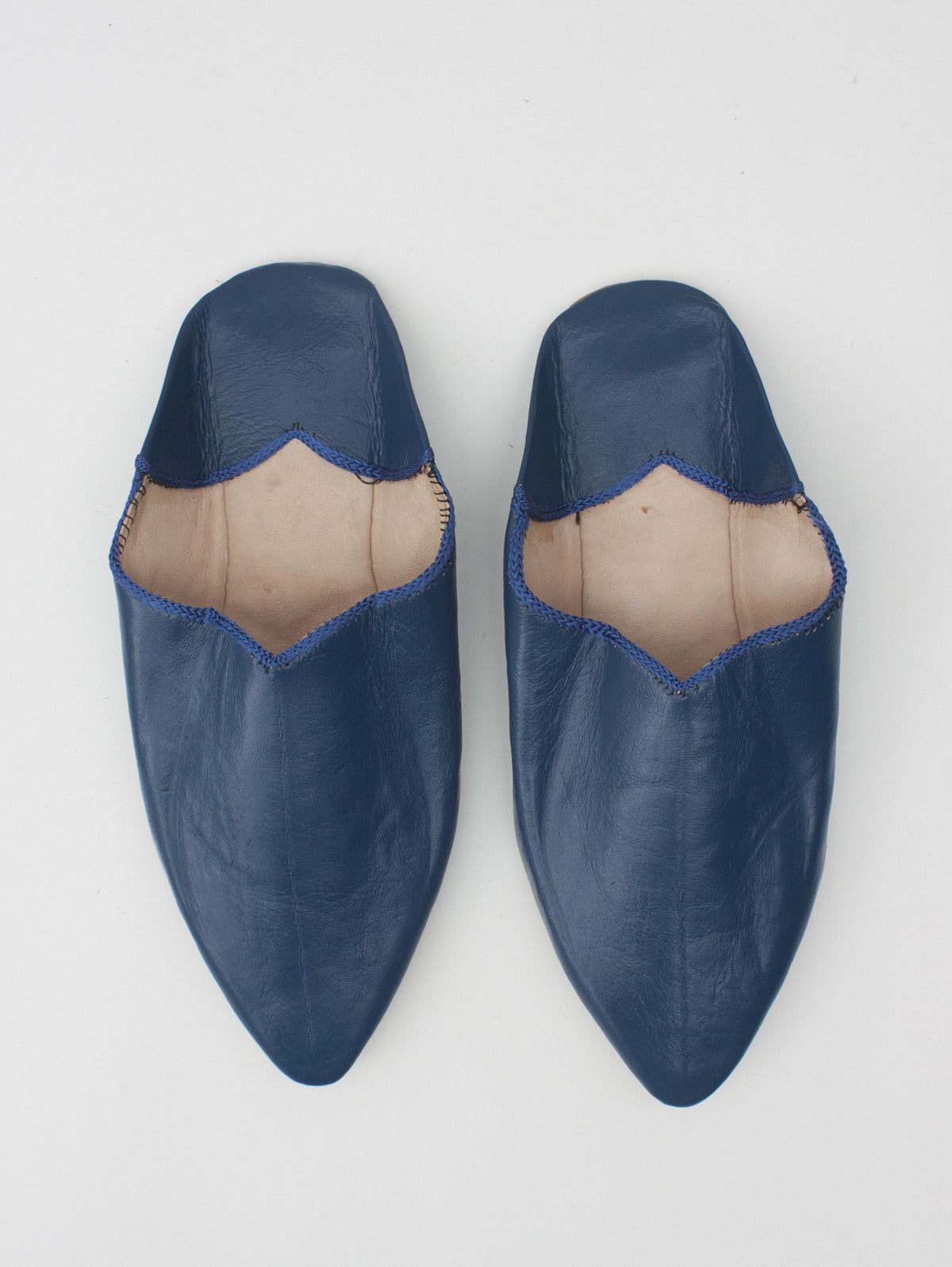 Moroccan Plain Pointed Babouche Slight Seconds, Indigo