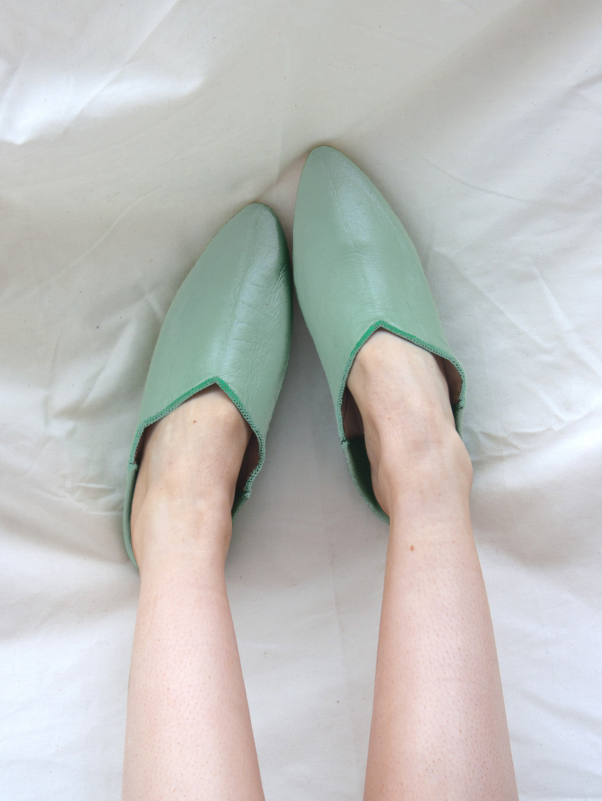 Moroccan Plain Pointed Babouche Slippers, Sage