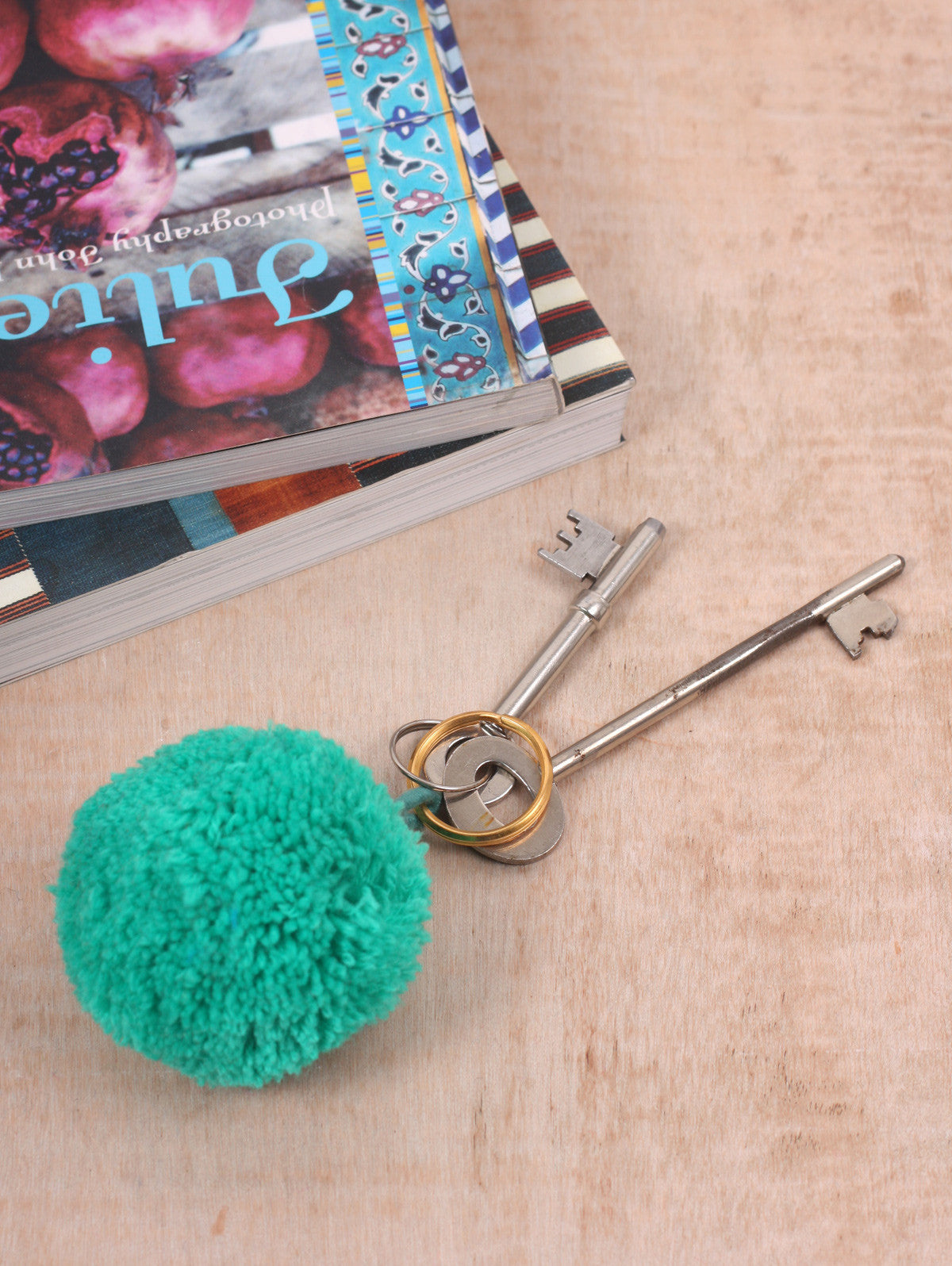 Pom Pom Basic Keyrings, Orange