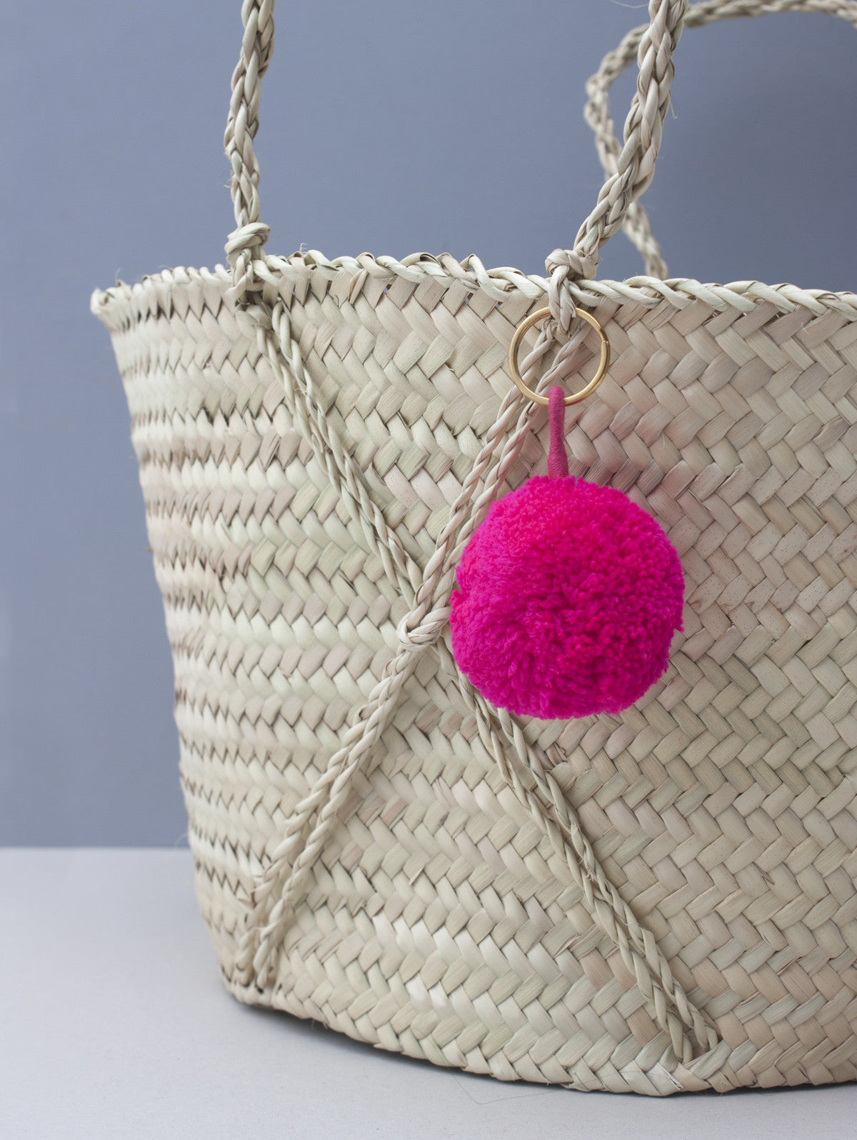 Pom Pom Basic Keyrings, Hot Pink
