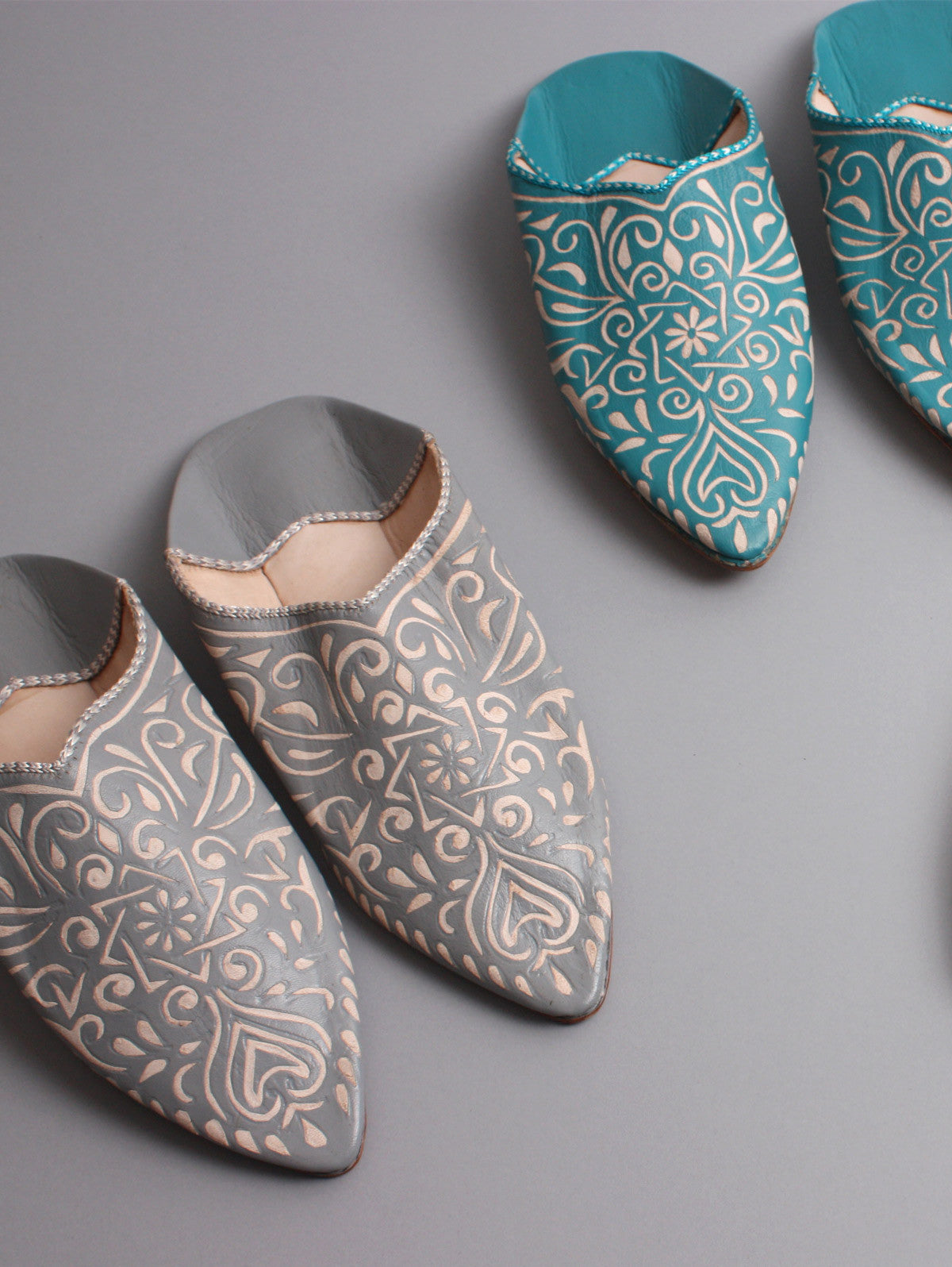 Moroccan Decorative Babouche Slippers, Grey