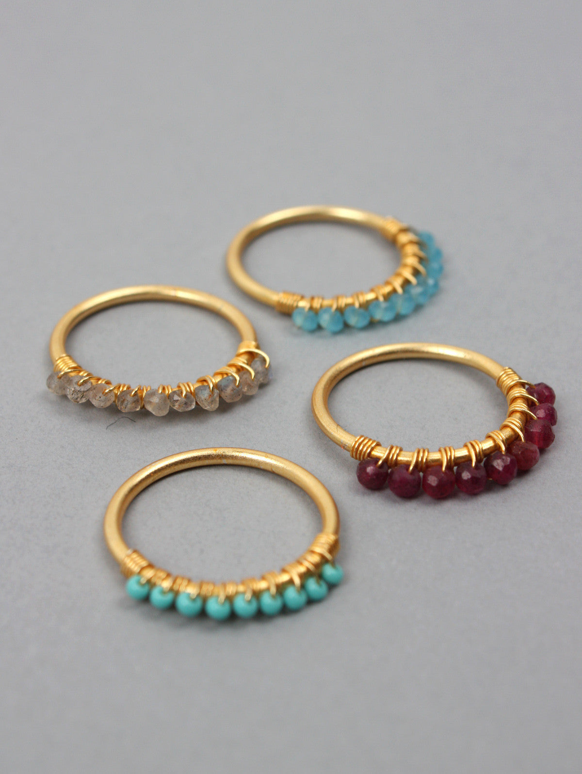 Row Stacking Rings, Turquoise