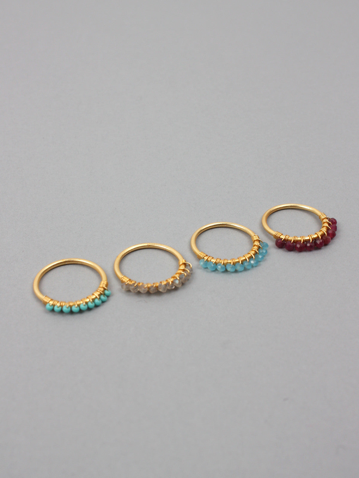 Row Stacking Rings, Labradorite