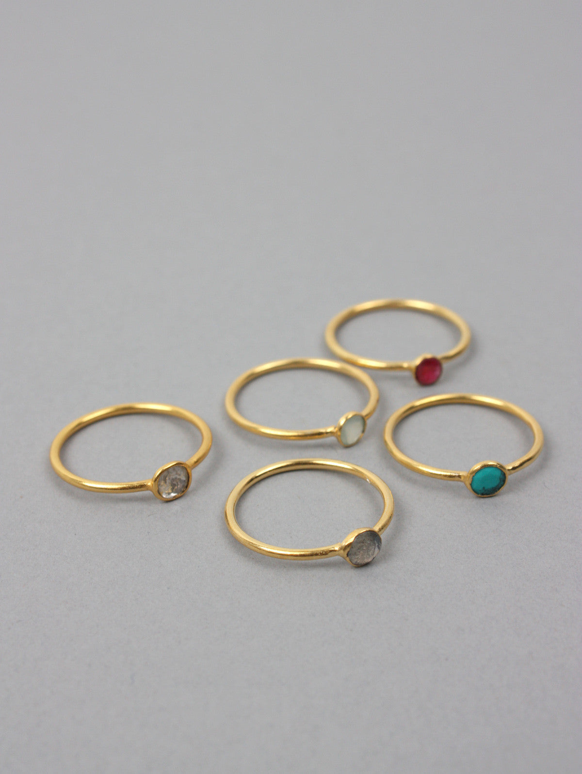 Solo Stacking Rings, Ruby