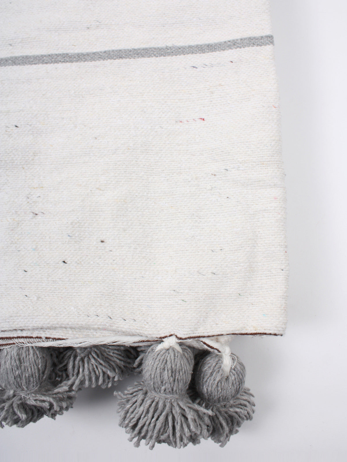 Tassel Pom Pom Blanket, White & Grey