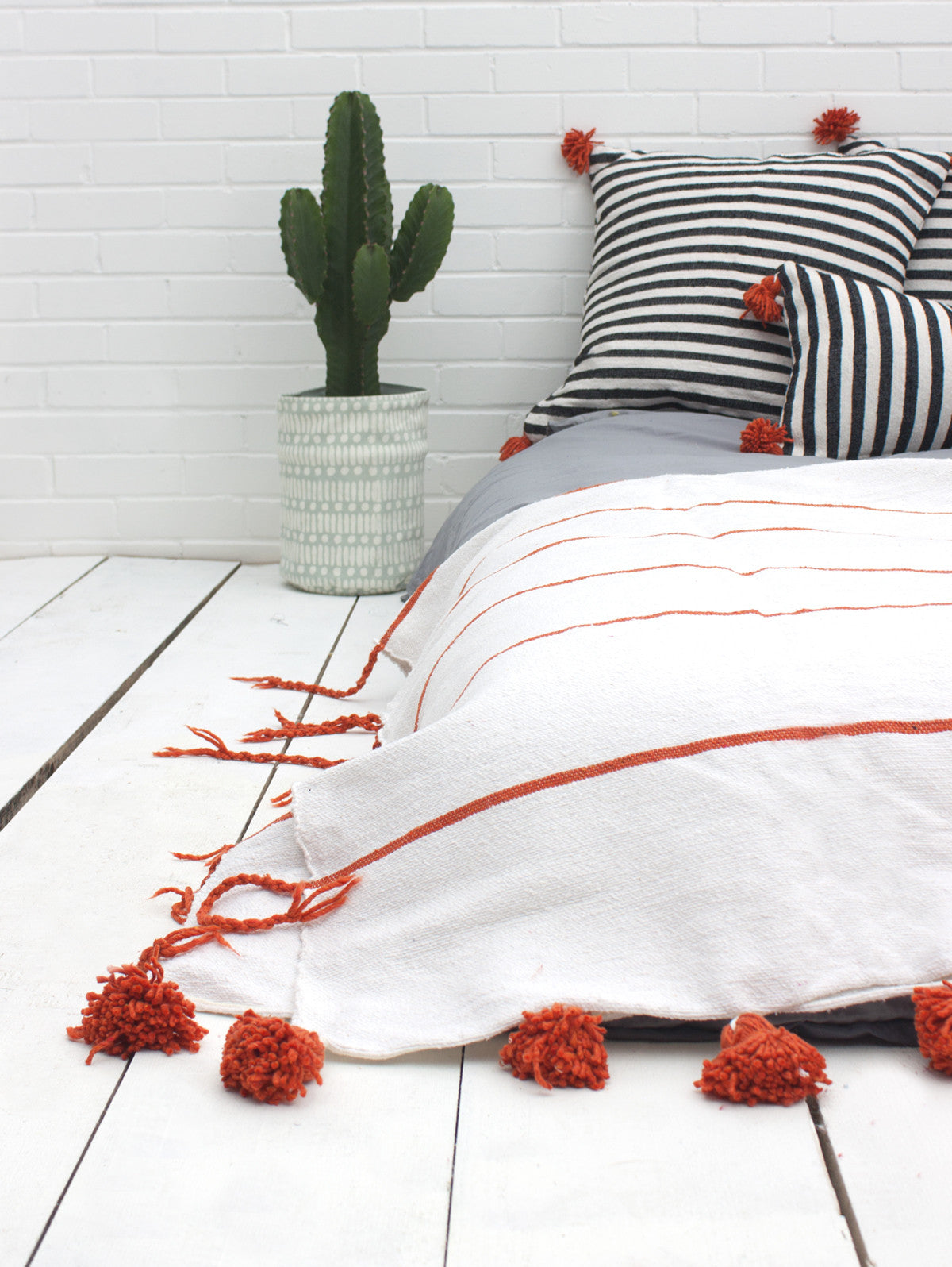Tassel Pom Pom Blanket, White & Orange