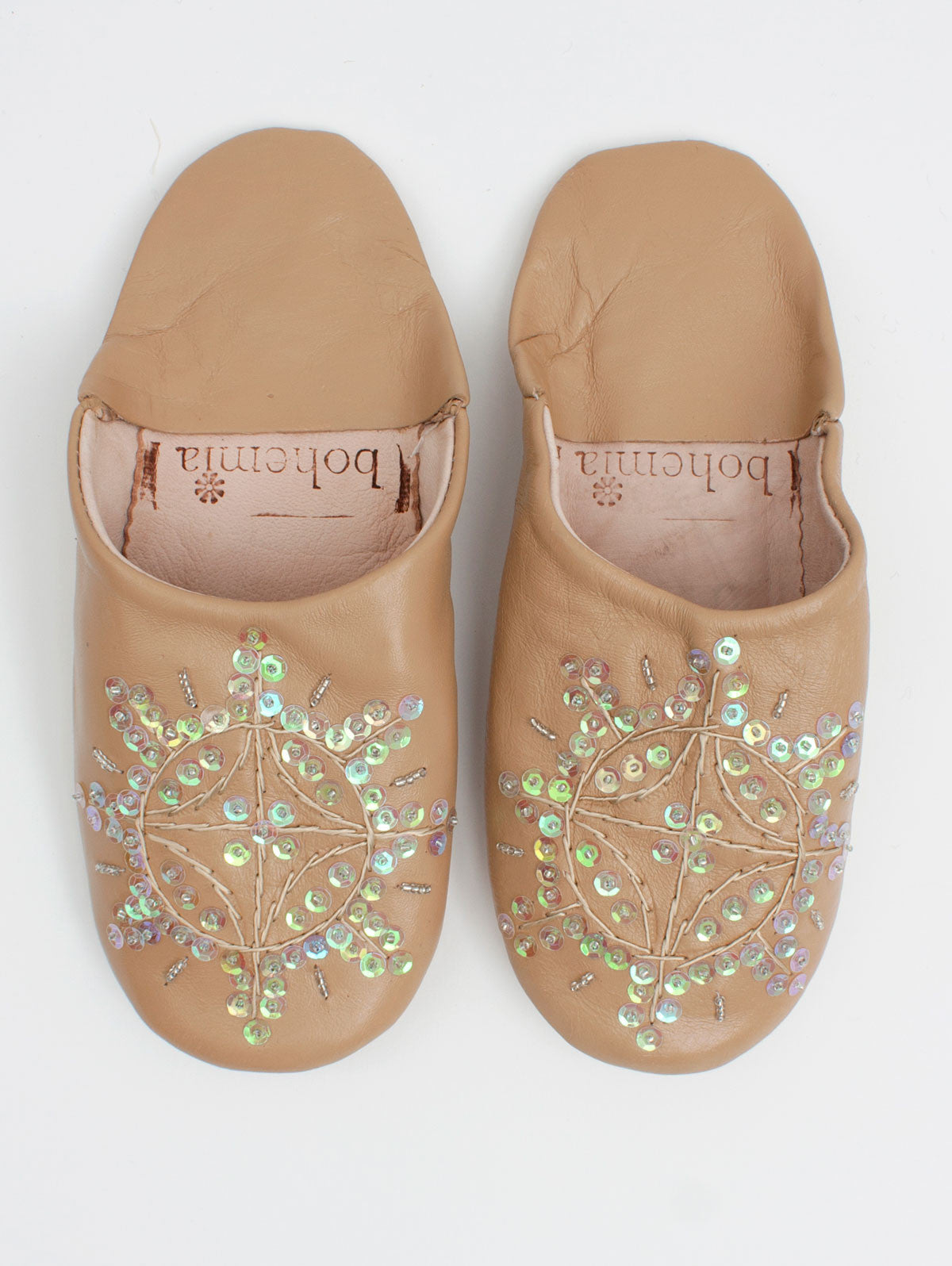 Moroccan Babouche Sequin Slippers, Cappuccino