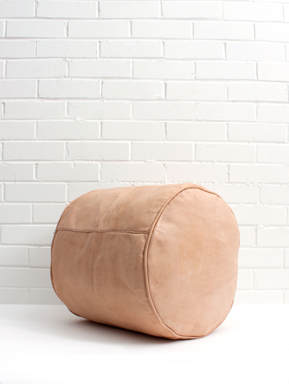 Moroccan Leather Plain Drum Pouffe, Natural